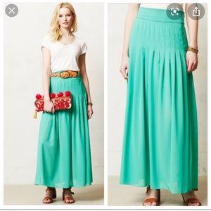 Maeve Zocalo teal pleated maxi skirt
